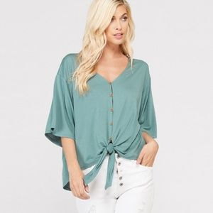 Tops - Bamboo button down front tie top-Pistachio